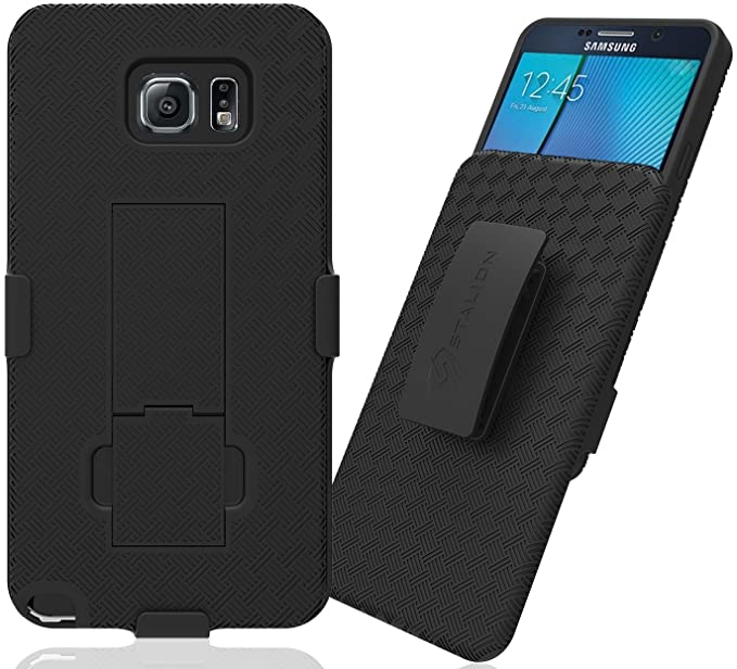 best sneakers 5cb32 56839 Galaxy Note 5 Case: Stalion Secure Holster Shell & Belt Clip Kickstand  Combo (Jet Black) for Samsung Galaxy Note 5 - TPU Shockproof Protection