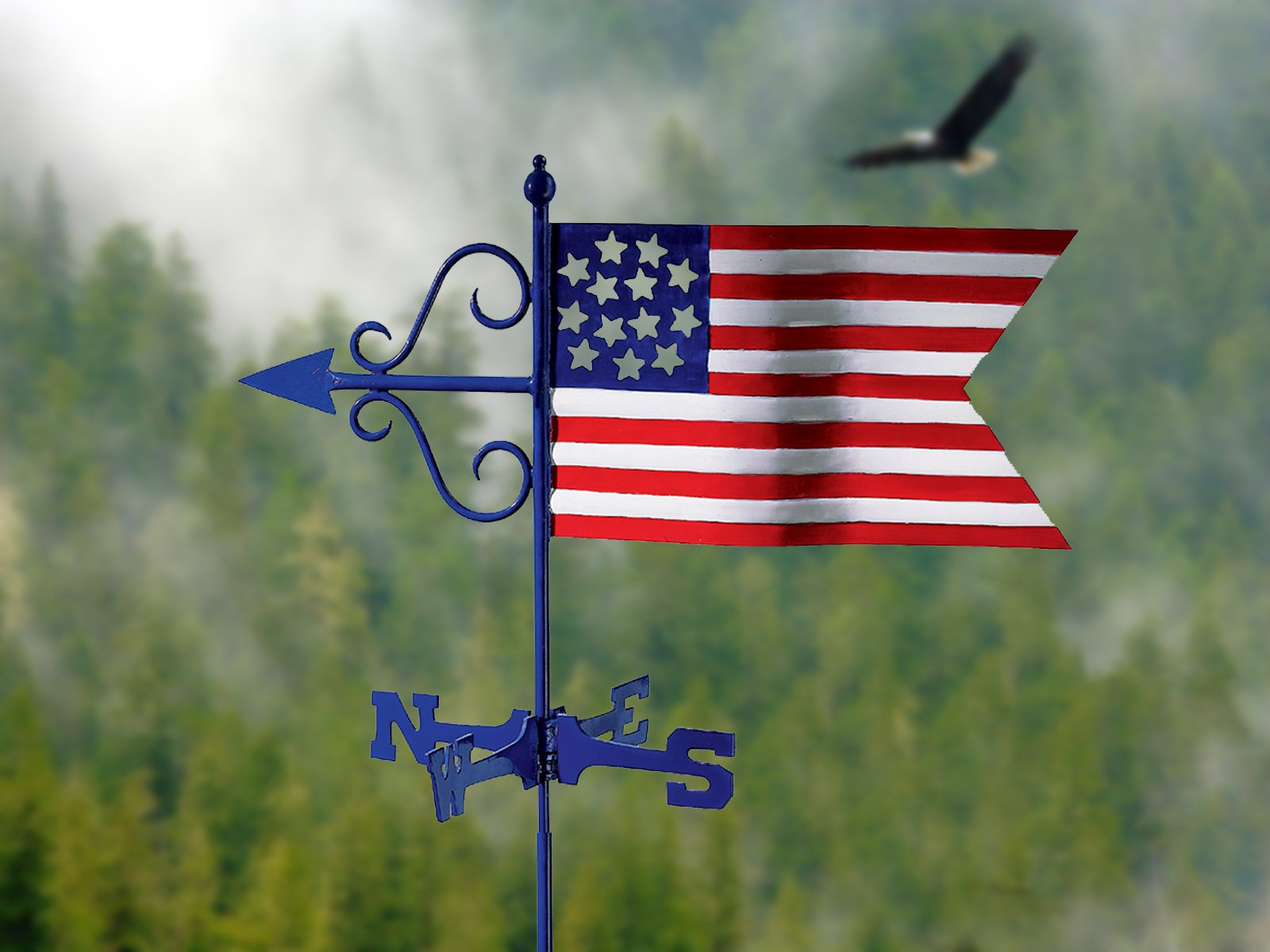 Good Directions Americana Flag Garden Weathervane with Garden Pole