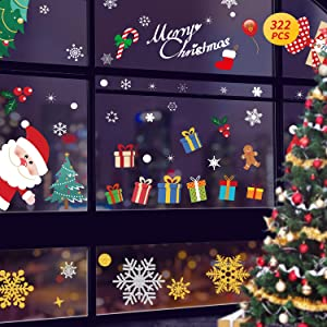 322 PCS Christmas Window Decorations Snowflake Window Clings 2020 Personalized Ornaments Glass Xmas Cartoon Pattern Decor Party Supplies Christmas Tree Glitter Removable Snowman Sticker (12 Sheets)