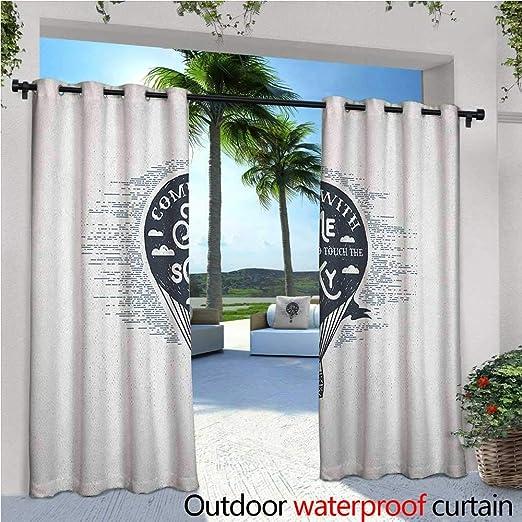 Cortina de privacidad para pergola Retro de aire caliente con romántico estilo vintage Journey Phrase lápiz de dibujo con aislamiento térmico repelente al agua Drape para balcón azul oscuro blanco: Amazon.es: Jardín