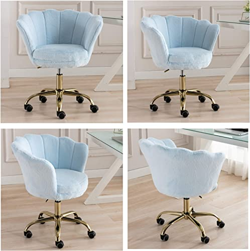 CIMOTA Desk Chair Fluffy Task Vanity Chair Home Office Chair Adjustable Rolling Swivel Chair