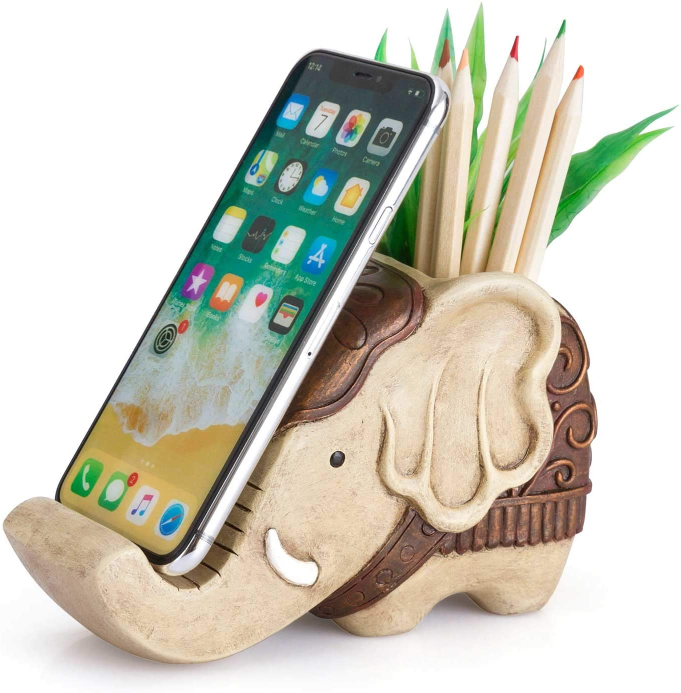 Pen Pencil Holder with Phone Stand, Coolbros Resin Elephant Shaped Pen Container Cell Phone Stand Carving Brush Scissor Holder Desk Organizer Decoration for Office Desk Home Decorative