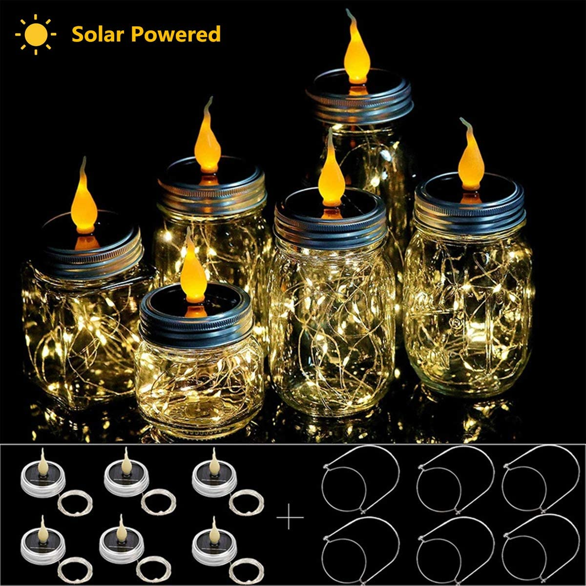 Uhomely Solar Mason Jar Lights, 6 Pack Mason Jar Candle Lights Warm While 20 Led 78Ft Lantern Lights with Hangers, Waterproof String Lid Lights for Patio Yard Porch Garden Wedding Cafe Decor, No Jars