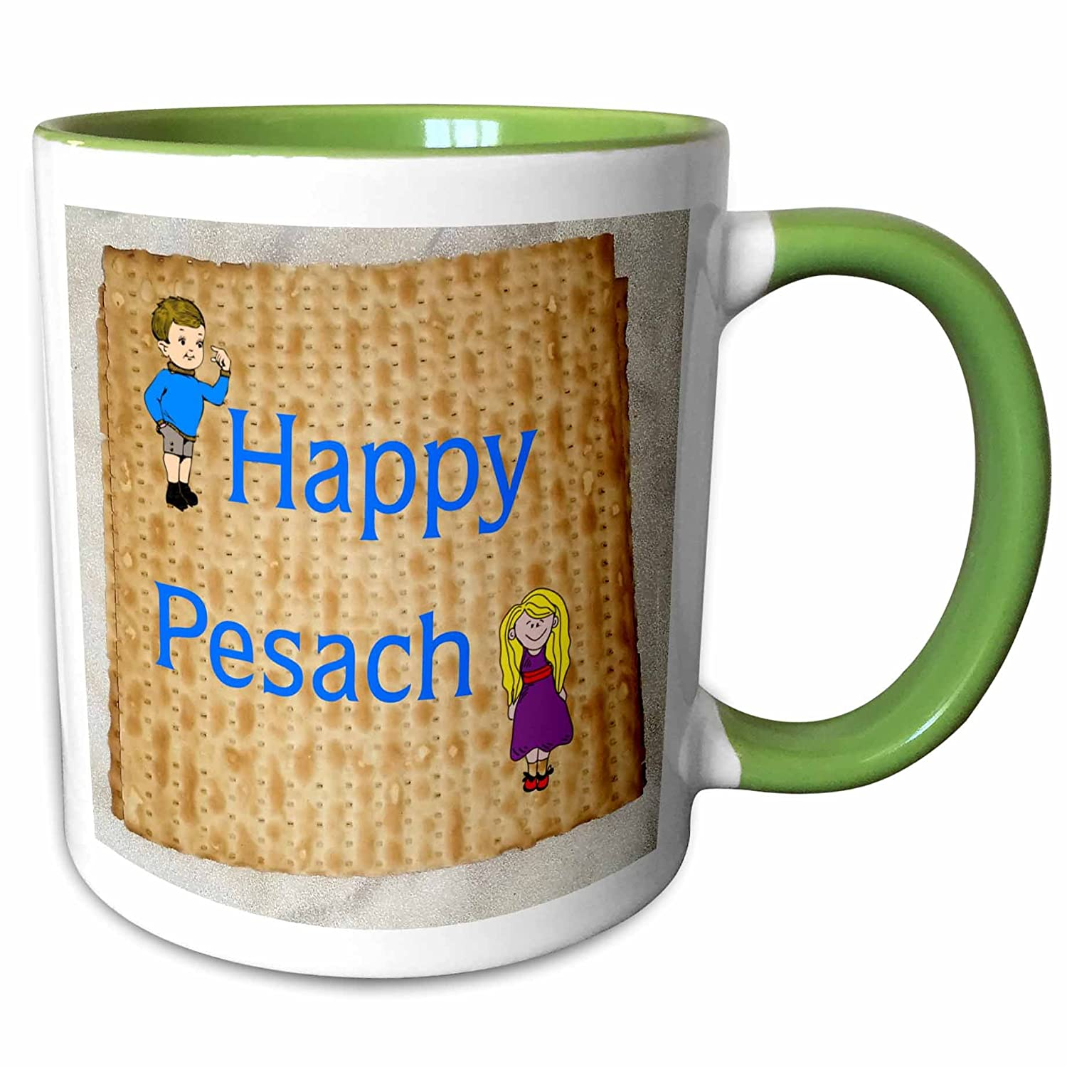 3dRose 235454/_7 Image of Happy Pesach with Boy And Girl On Matzoh Green Mug 11 oz