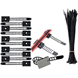 Attacco dei cavi Morsetto per cavi adesivi (100 Pezzi), Nylon Cavo Fascette (100 Pezzi), Clip per cavi Elementi di fissaggio dei cavi Morsetti Fissaggio dei cavi