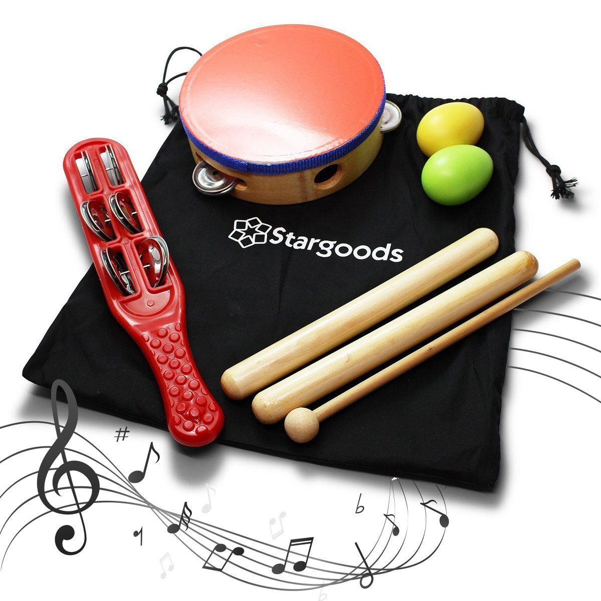 Stargoods Percussion Instruments Set (Drum, Jingle, Claves & Egg shakers) SG-PERCSET
