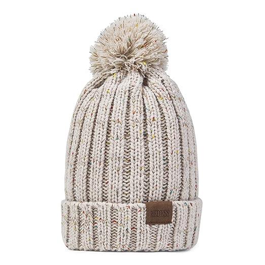 091aa8b24f4 REDESS Women Winter Pom Pom Beanie Hat with Warm Fleece Lined