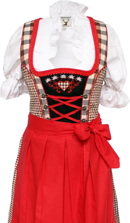 Alpen Cuento, 3 Piezas. Tirolesa de Juego – Traje Tradicional Vestido, Blusa, Delantal, Color marrón de Color Rojo (Disponible en Varios tamaños) Marrón- Rojo 38: Amazon.es: Ropa y accesorios
