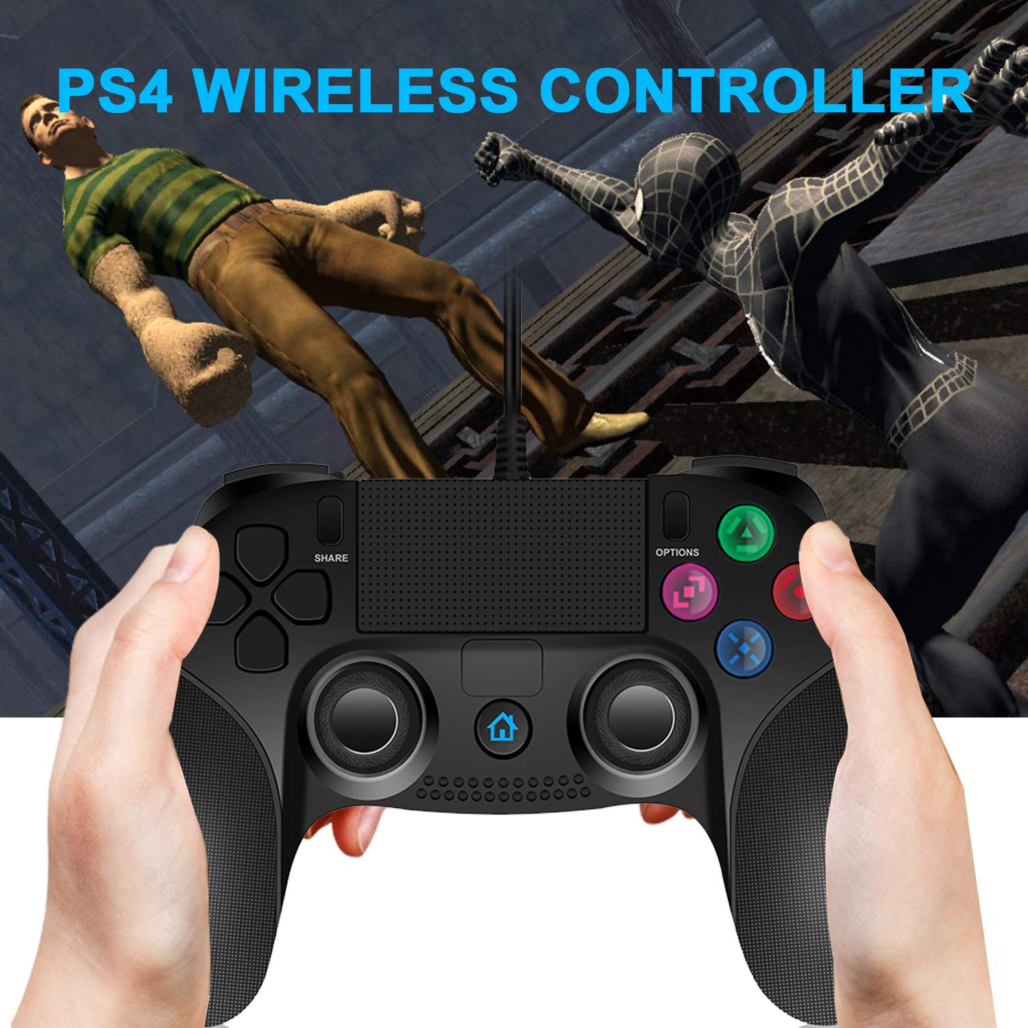 JAMSWALL PS4 Controlador Dual Vibration Shock Joy Stick para Playstation 4 con Cable de 2.2 M: Amazon.es: Electrónica