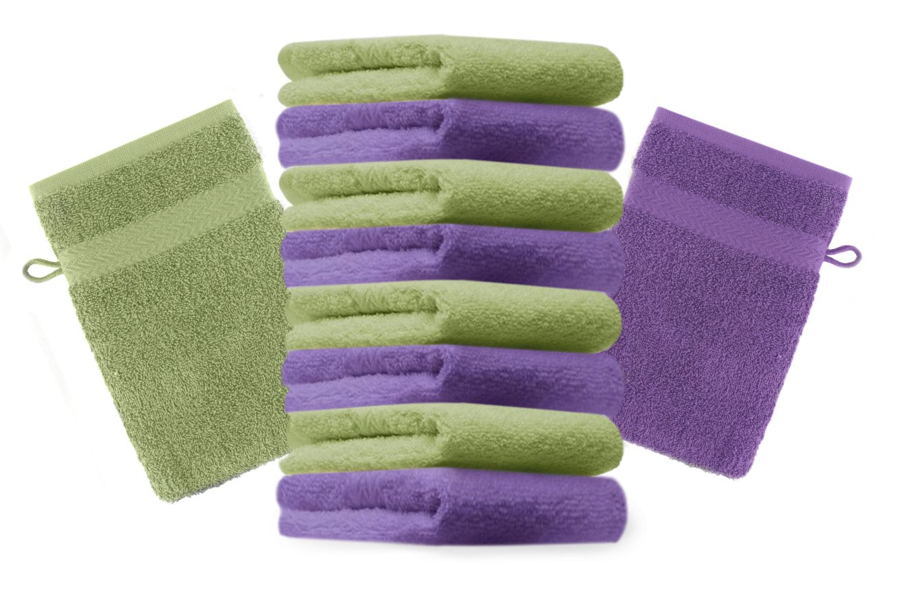 Betz Pack of 10 Wash Glove Mitts PREMIUM 100% Cotton 16x21 cm (apple green & purple)