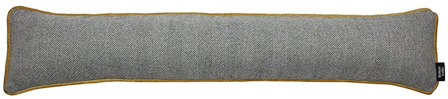 "McAlister Textiles Window Draft Stopper and Door Cloth Seal 36"" Stops Unfriendly Drafts & Wind Noises, UNFILLED Herringbone Plush Linen Cloth Door Draft for Farmhouse Cabin Accent Decor, Charcoal Gray"