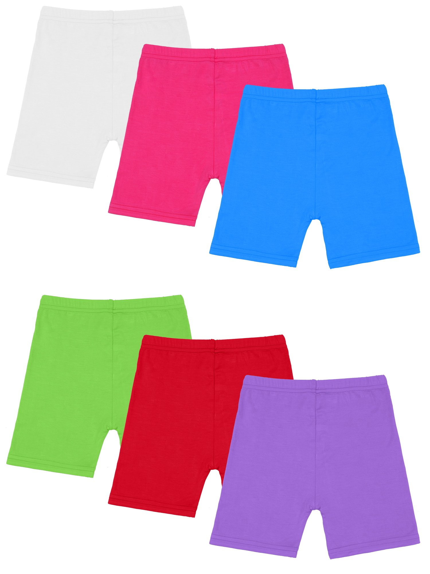 Resinta 6 Pack Black Dance Shorts Girls Bike Short Breathable and Safety 6 Color (4T/5T, Candy Colors)