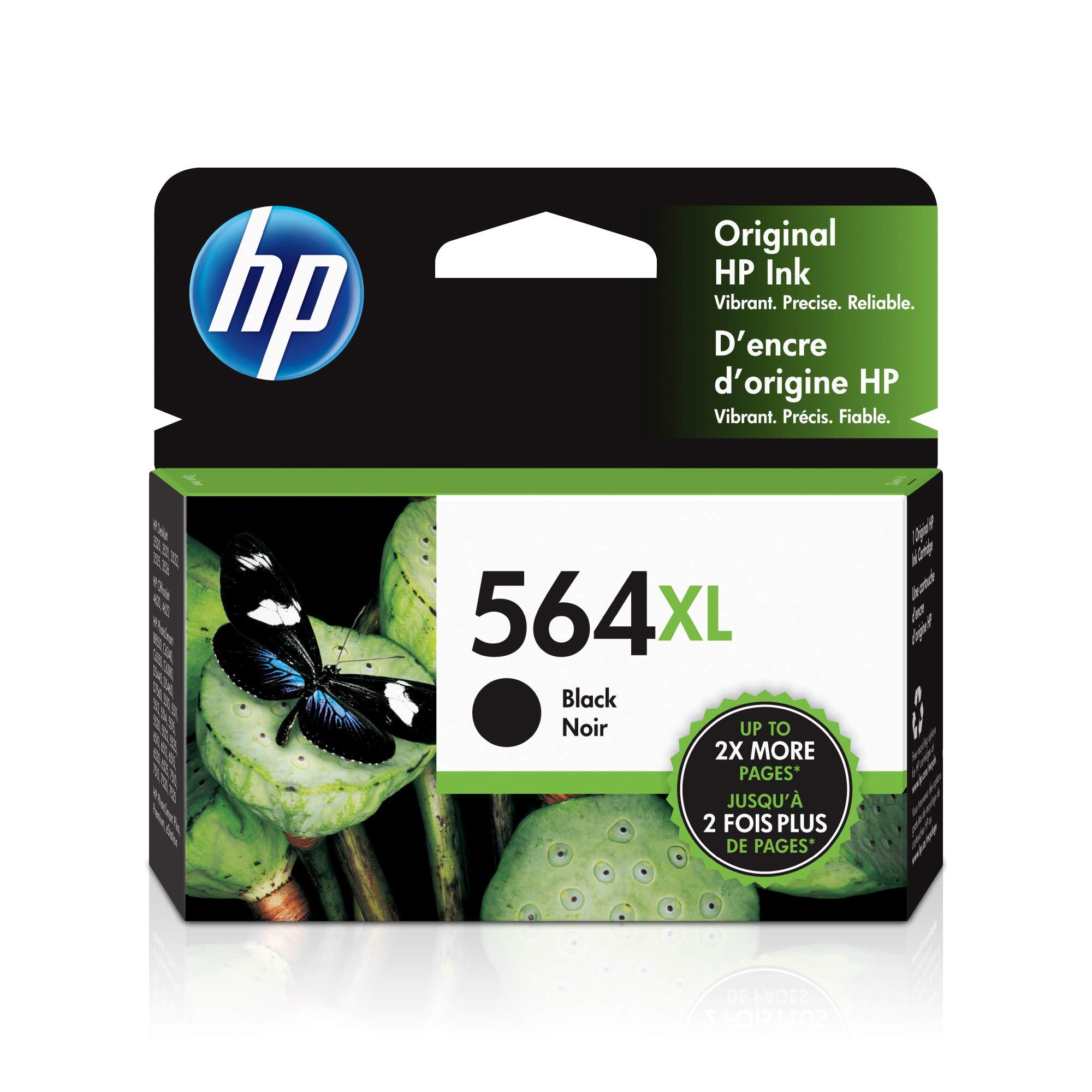 HP 564XL | Ink Cartridge | Works with HP Deskjet 3500 Series, HP Officejet 4600 5500 C6300 6500 7500 Series, B8550, D7560, C510, B209, B210, C309, C310, C410, C510 | Black | CN684WN