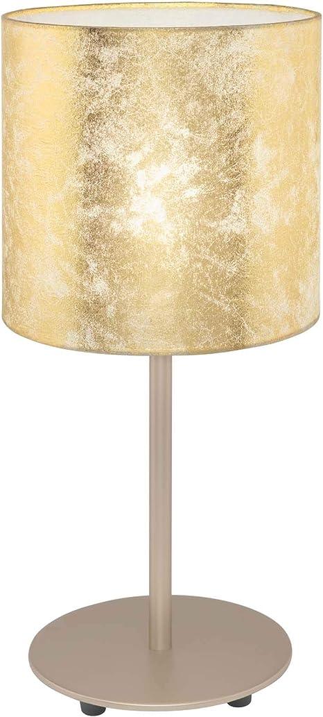Abatjour Lampada Da Comodino Lumetto Con Paralume Tessuto Oro Per Camera Da Letto Amazon It Illuminazione