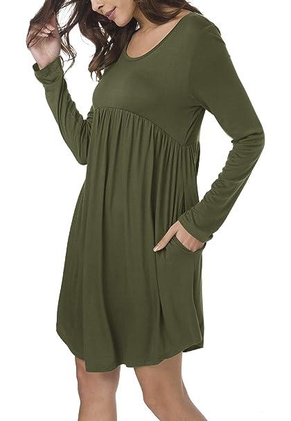 7696bbf3167 Urban CoCo Women's Short Sleeve Pocket Casual Loose Swing T-Shirt Dress (S,