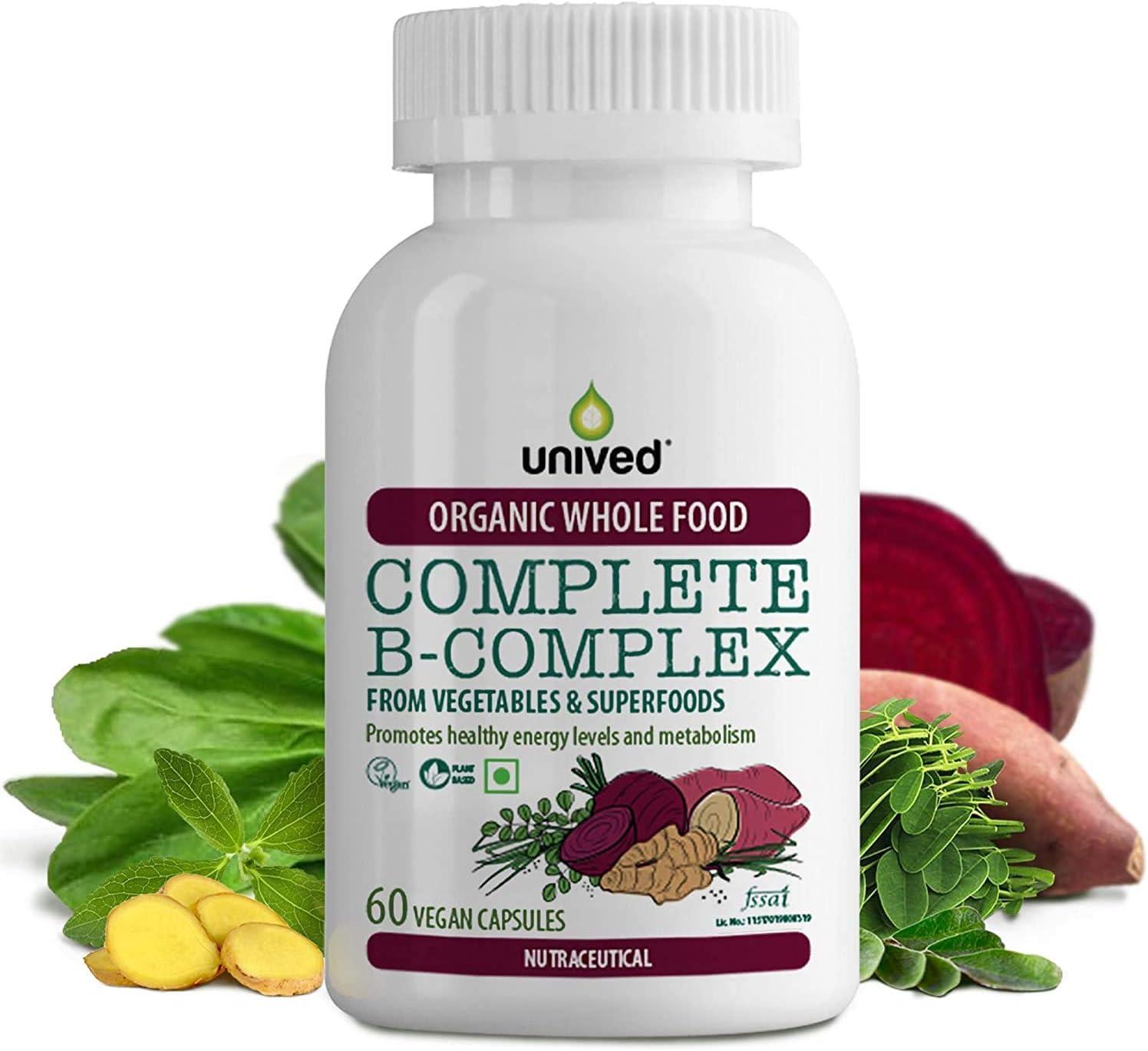 Dharma Unived Organic Vitamin B Complex, Whole Food Plant Based Vitamins B1, B2, B3, B6, Folate, B12, Biotin, B5, for Energy, Skin & Hair Health, 60 Vegan Capsules