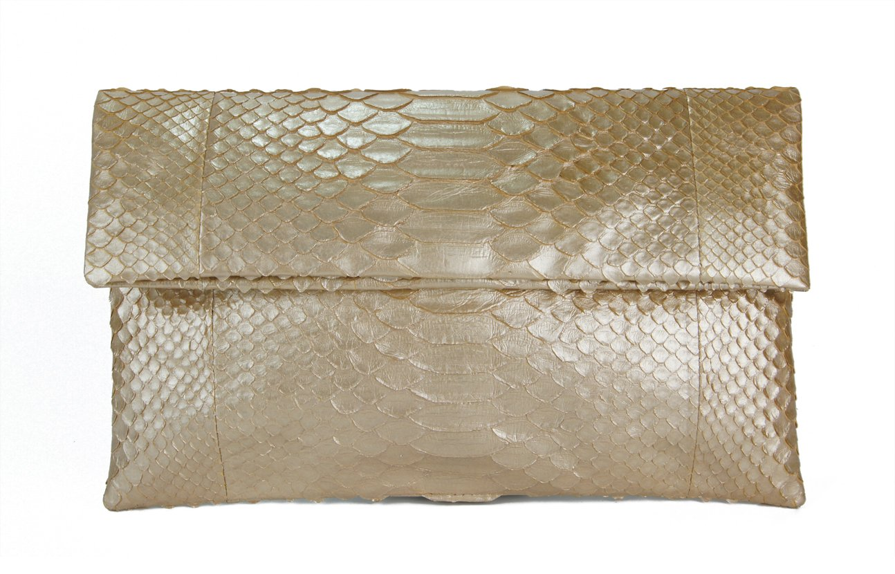 Genuine Pale Gold Python Leather Classic Foldover Clutch Bag