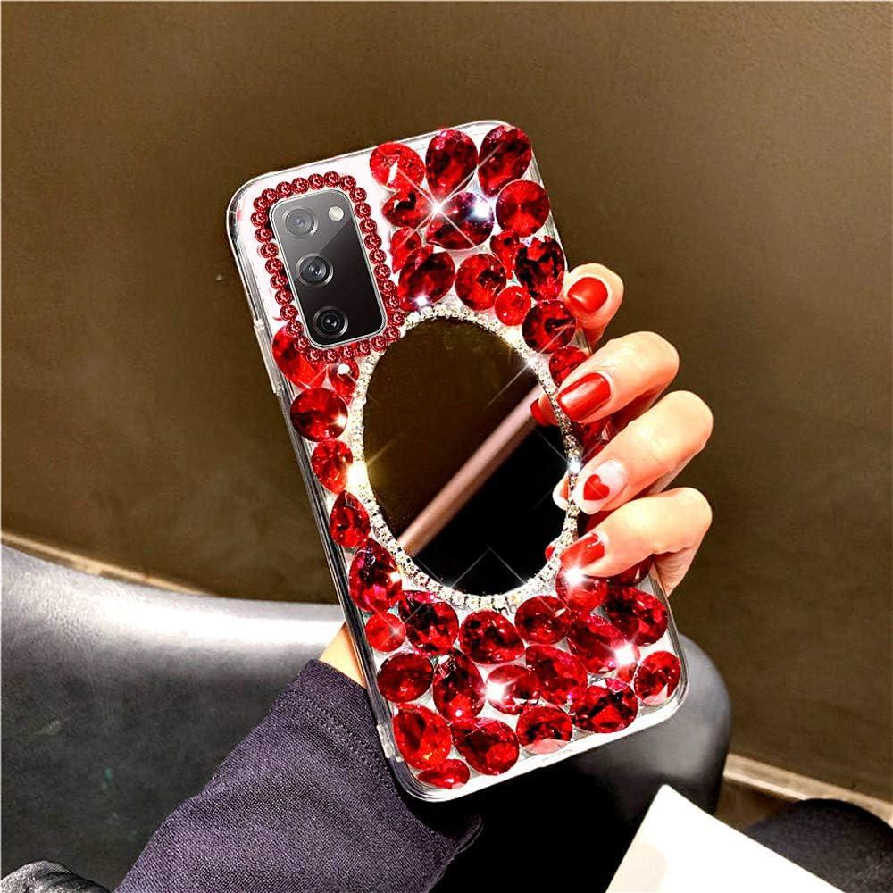 Case for Galaxy S20 FE 5G,3D Handmade Bling Rhinestone Diamonds Luxury Sparkle Mirror Case Girls Women Full Crystals Bling Diamond Soft TPU Bumper Case Cover for Galaxy S20 FE 5G Mirror Case,Clear
