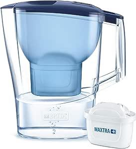 BRITAAluna azul- Jarra de Agua Filtrada con 1 cartucho MAXTRA+, Filtro de aguaBRITA que reduce la cal y el cloro, Agua filtrada para un sabor óptimo,2.4L