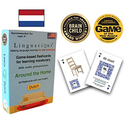 Linguacious Award-Winning Around The Home Dutch Flashcard Game - with Audio!: Toys & Games