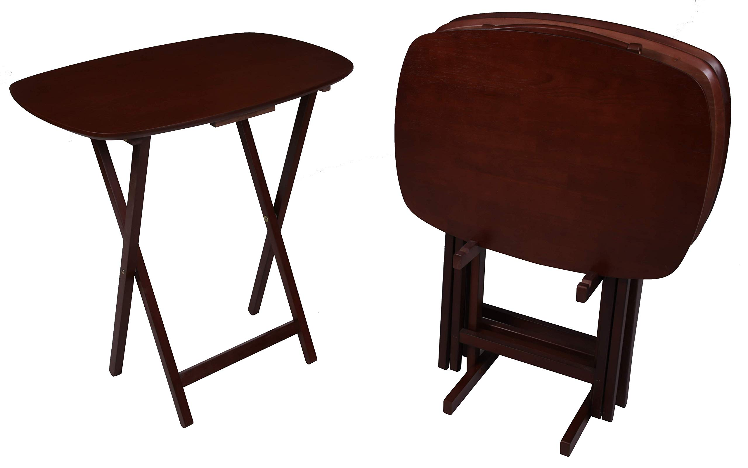 PJ Wood 5-Piece Large Folding TV Tray & Snack Table - Mahogany by PJ Wood