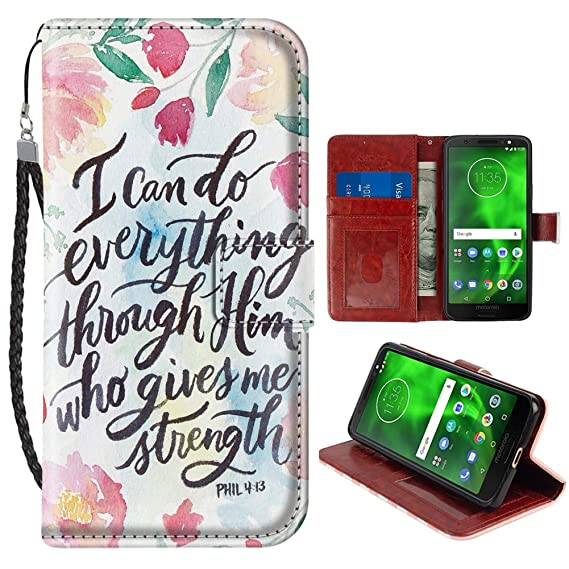 brand new b3019 3bdb6 Amazon.com: Bible Verse Quotes Moto G6 Wallet Case PU Leather Cover ...