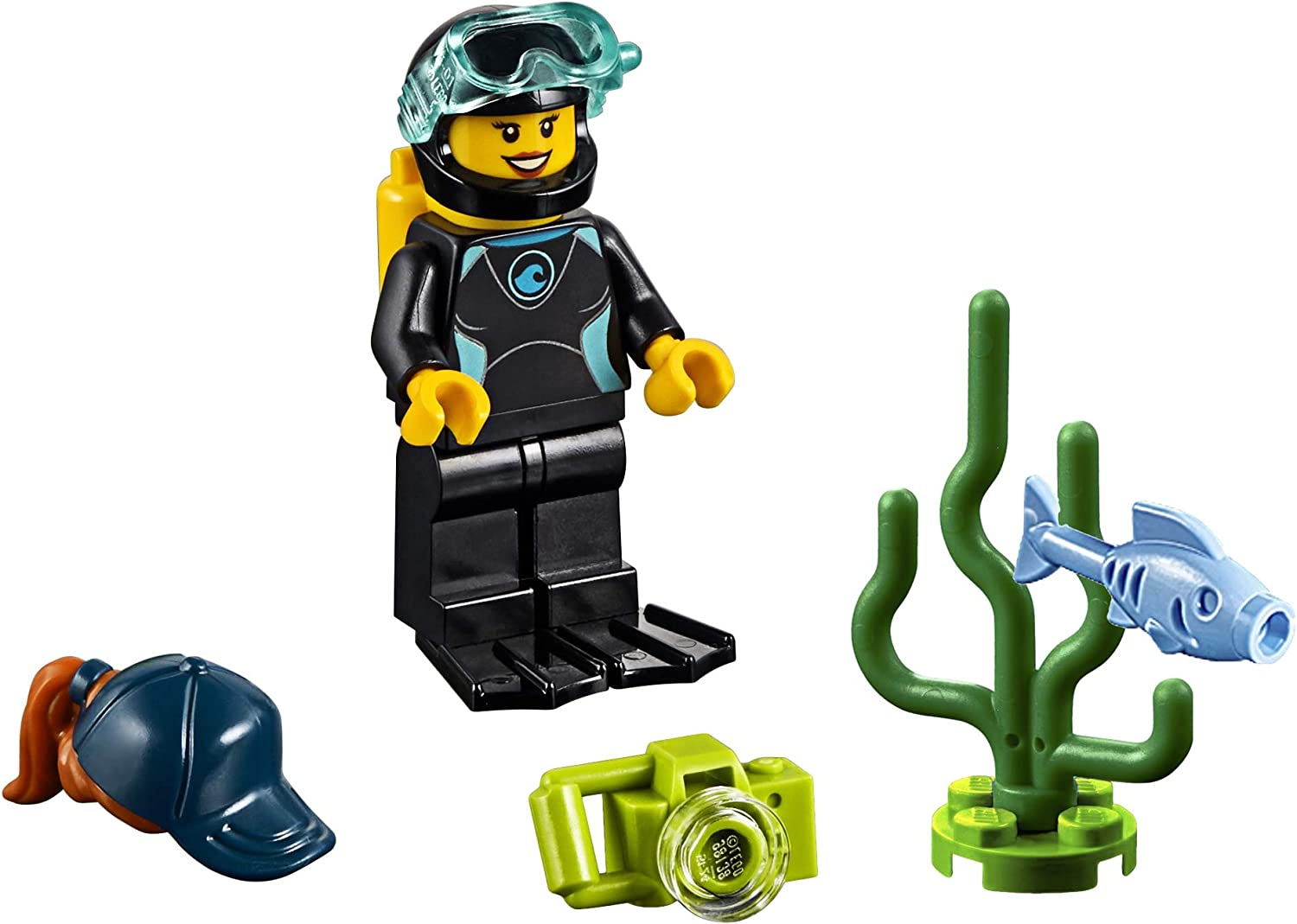 LEGO City Minifigure - Female Diver in Wetsuit (with Camera, Fish, and Sea Plant) 60221