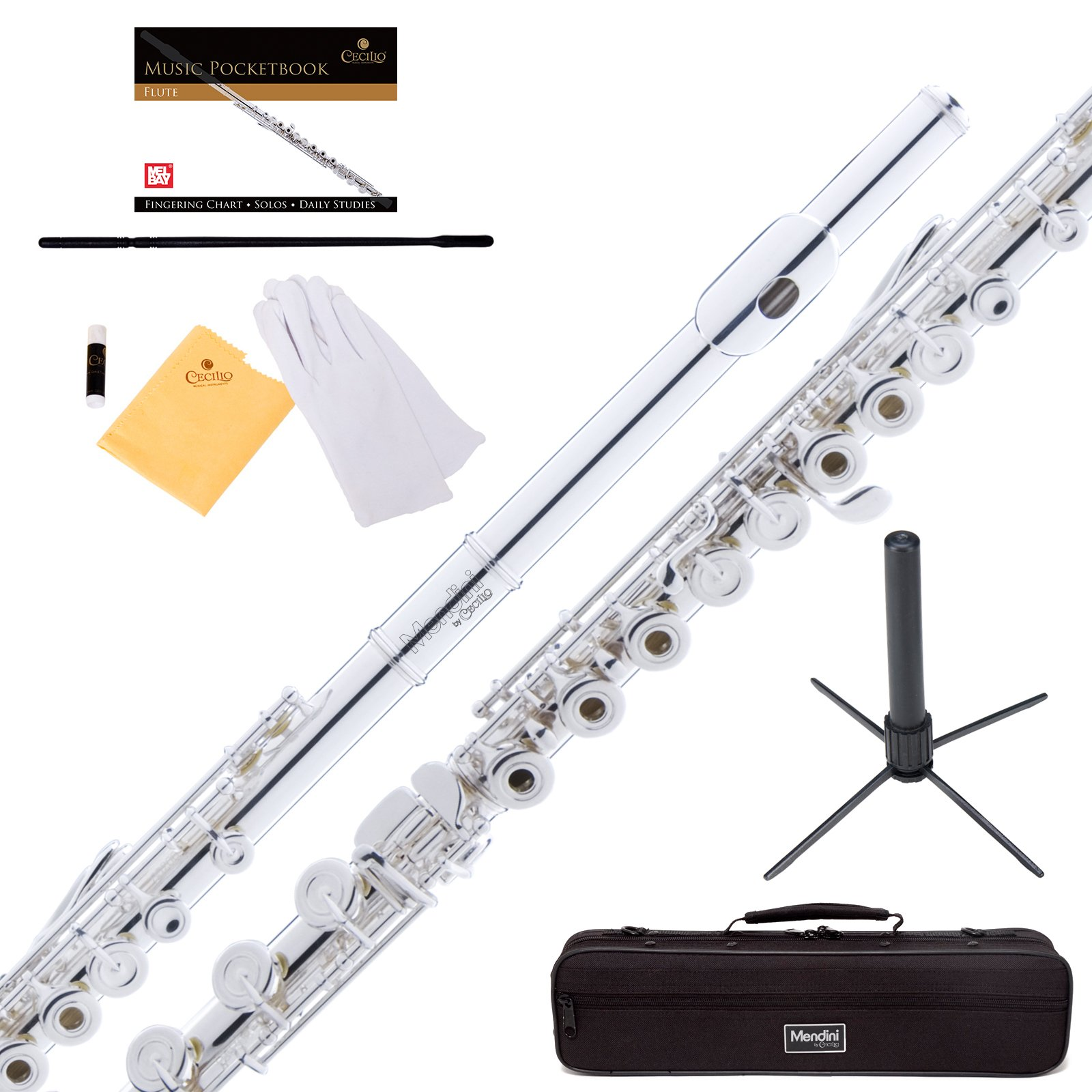 Mendini Silver Plated Intermediate 17 Keys Open/Closed-Hole C Flute w/ B Foot Joint, Durable Case, 1 Yr Warranty, Stand, Book, Cleaning Rod & Cloth, Joint Grease and Gloves MFE-30S+SD+PB by Mendini by Cecilio
