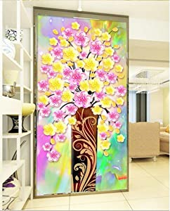 Duleen 3D Mural Wallpaper Custom Made Decoration Porch Painting Fortune Tree Vase Entrance Wall Sticker 400Cmx300Cm|157.48(in) X118.11(in)