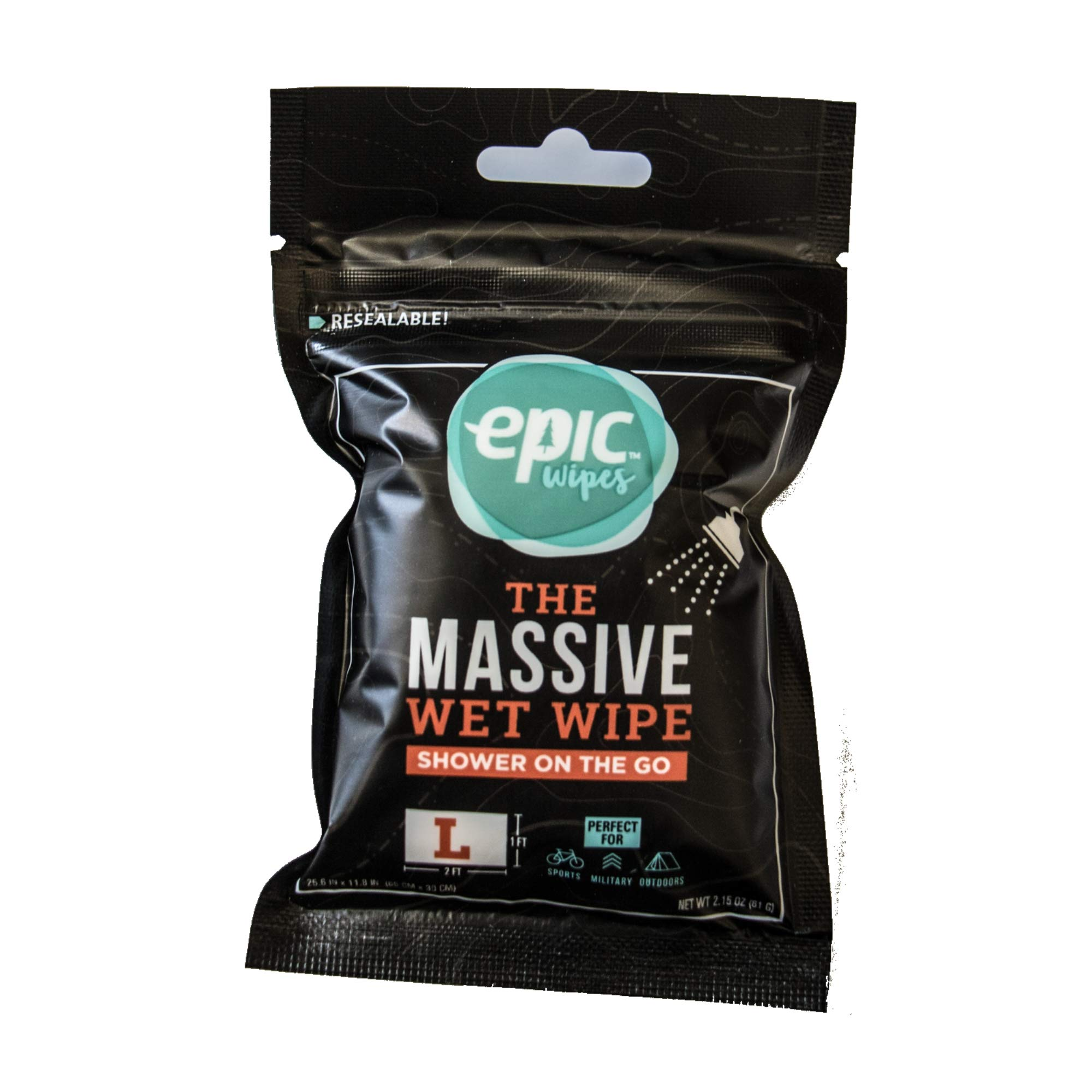 Encore, LLC Epic Wipes, 20-Pack Large Wet Wipes, Biodegradable Residue-Free Shower Substitute, Big on-The-go Bamboo Body Wipes by Encore, LLC