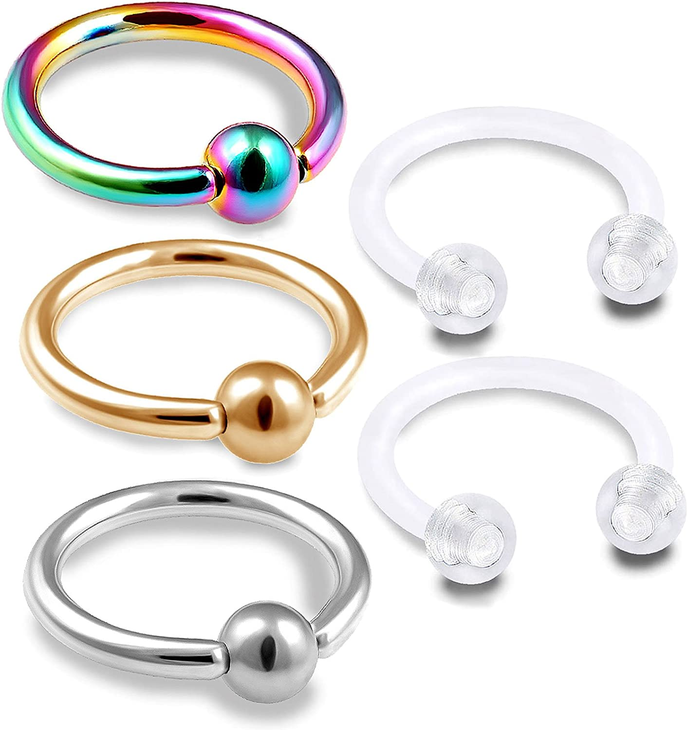 5pc Value Pack Pearlish Coated Acrylic Balls Eyebrow Rings 16g Body Jewelry