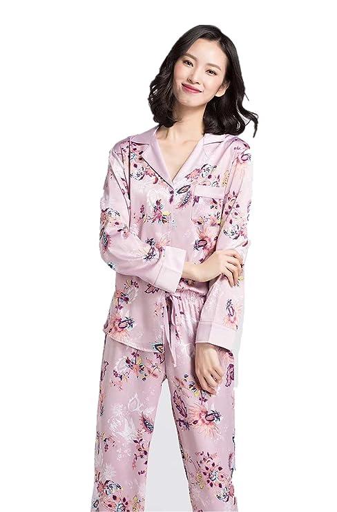 zk 100% Silk Women Pajamas Femal Sleepwear Pajamas Suits at Amazon Womens Clothing store: