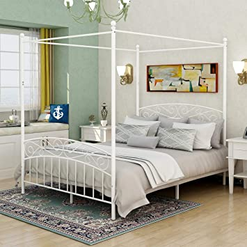 Amazon Com Deluxe Design Queen Size Metal Canopy Bed Frame With