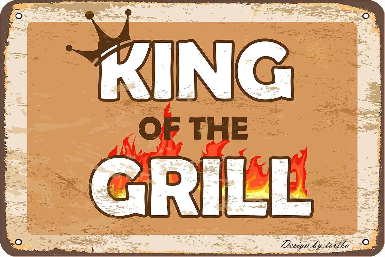 Letrero decorativo para pared dise/ño vintage King Of The Grill 20 x 30 cm