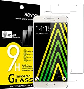 NEW'C 2 Unidades, Protector de Pantalla para Samsung Galaxy A5 2016 (SM-A510), Antiarañazos, Antihuellas, Sin Burbujas, Dureza 9H, 0.33 mm Ultra Transparente, Vidrio Templado Ultra Resistente