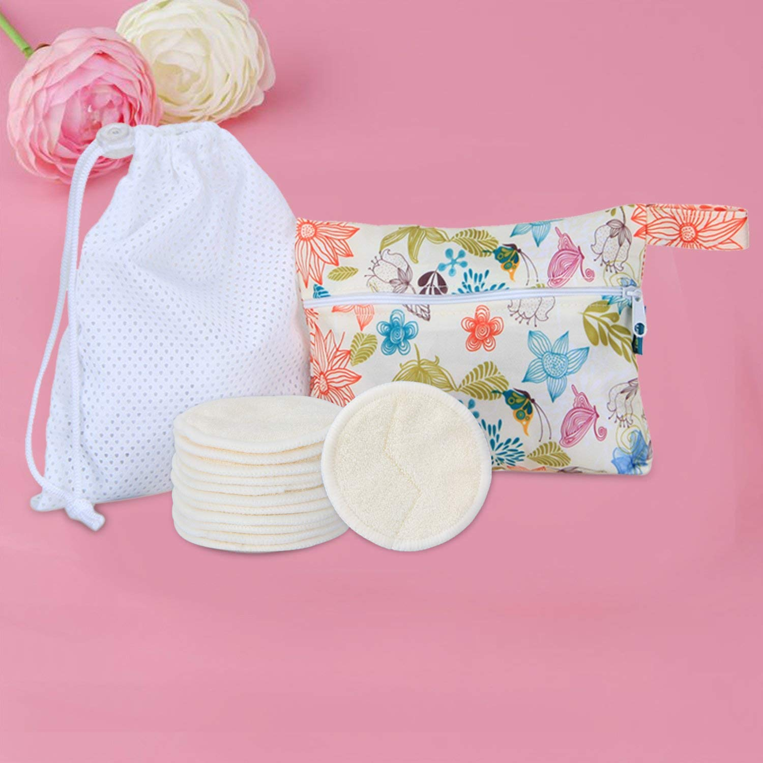 Laundry Bag+Storage Bag Teamoy 12pcs Reusable Make up Remover Pads with 2 EXTRA Bags