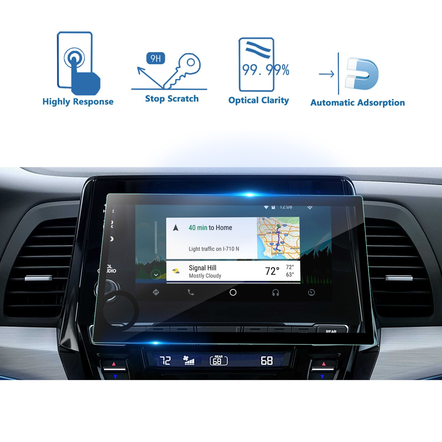 LFOTPP 2018 2019 Honda Odyssey 8 Inch Car Navigation Screen Protector, Tempered Glass Infotainment Display in-Dash Touch Protective Film Scratch-Resistant