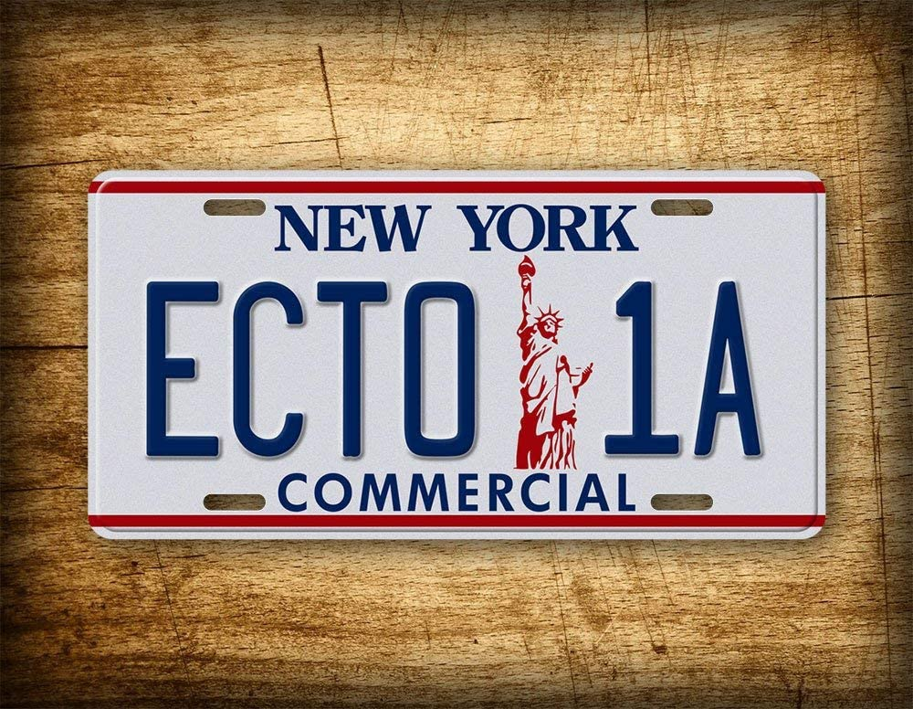 Fhdang Decor Ghostbusters 2 Movie License Plate ECTO 1A Commercial New York Vintage Auto Tag Replica Prop Metal Sign