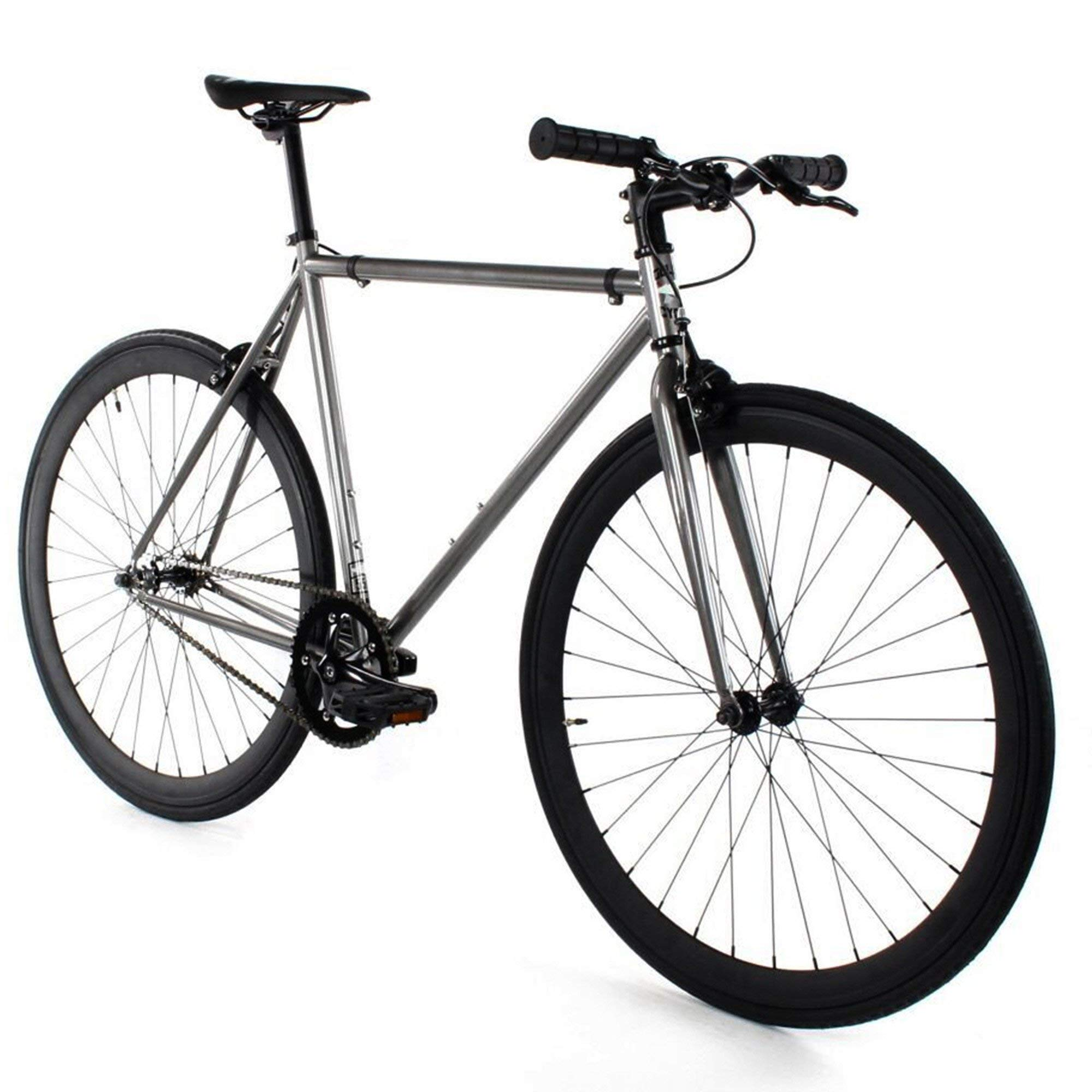 Golden Cycles Single Speed Fixed Gear Bike with Front & Rear Brakes (Asphalt, 41)