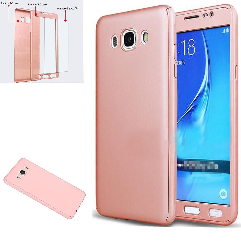 LXHGrowH Funda Samsung Galaxy J7 2016 [ 360 °] Protectora + Vidrio Templado, Funda Case Cover Carcasa para Samsung Galaxy J7 2016 Color Rosado