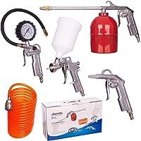 5pc Compressor Set Air Accessory Tool Kit Pistolet Pulvérisateur Tuyau Pneumatique Gonfleur Pistolet