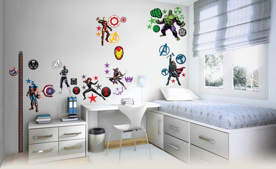 Avengers Wall Sticker 3D Bedroom Boys Girls Large Children S2AM