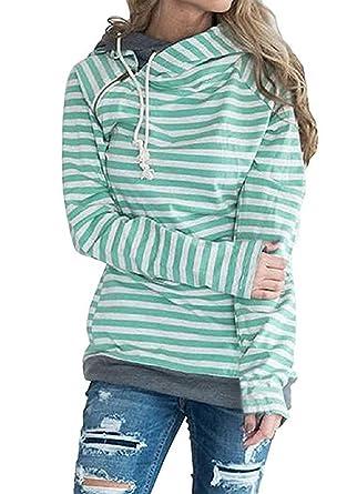 Asskdan Damen Gestreift Pulli Sweatshirts Hoodie Sport Langarm