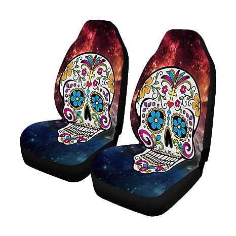 Strange Amazon Com Interestprint Galaxy Sugar Skull Car Seat Covers Evergreenethics Interior Chair Design Evergreenethicsorg
