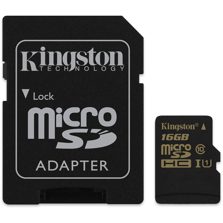 TALLA 16 GB. Kingston SDCA10/16GBSP - Tarjeta microSD de 16 GB (clase 10, SDHC/SDXC), negro
