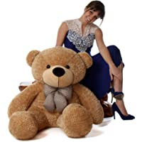 Buttercup Soft Plush Fabric Teddy Bear with Neck Bow - 4 Feet 60 cm, Light Brown)