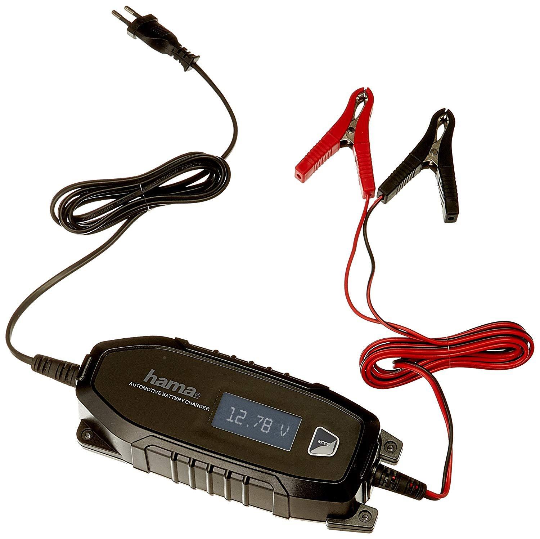 Hama Automatik Batterie-Ladegerä t (fü r Auto, Motorrad, Boot, 230V, fü r AGM-/Li-Ion-/Blei-Sä ure-/Nass-/Gel-Batterien, Erhaltungsladung, Tiefentladung geeignet, inkl. Polklemmen, Autobatterie) schwarz Hama GmbH & Co KG 00136686