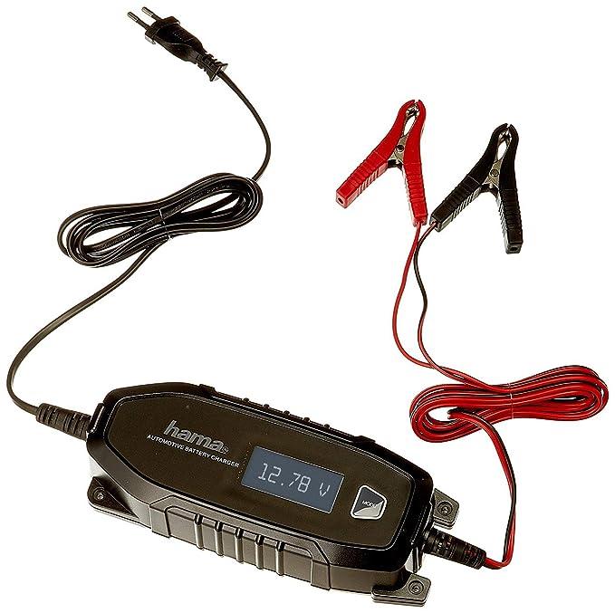Hama Autobatterie-Ladegerät (für Auto, Motorrad, Boot, 6/12V, für AGM | Li-Ion | Blei-Säure | Nass | Gel-Batterien, Erhaltung
