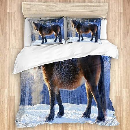 Copripiumino Paesaggio Invernale.Qiutianxiu Set Copripiumino Cavallo Gelo Freddo Ghiaccio Neve
