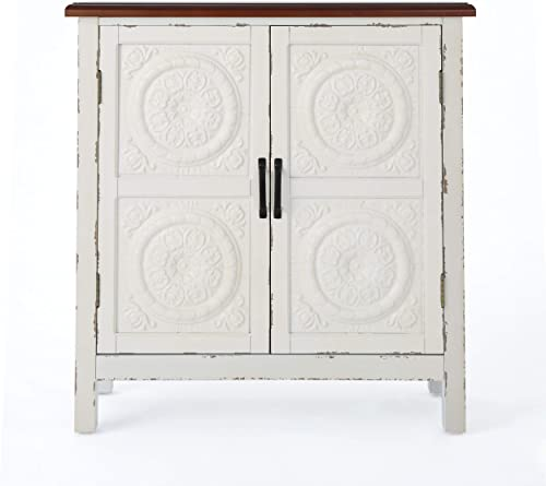 Christopher Knight Home Alana Firwood Cabinet with Faux Wood Overlay, Distressed White Brown
